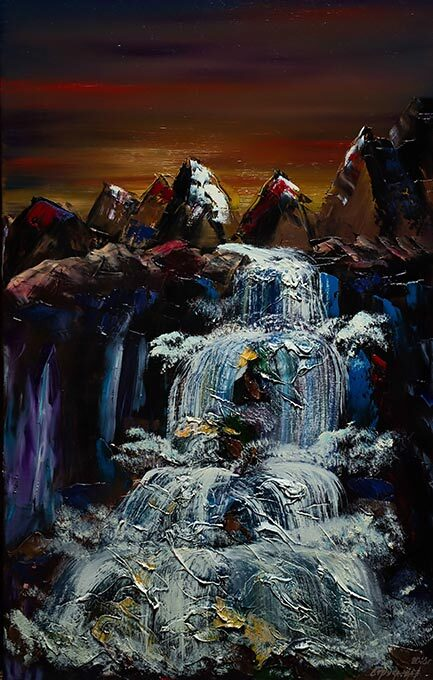 Artwork 'Waterfall in the gorge'